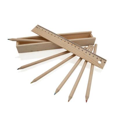 Caja madera con lápices LA18-1