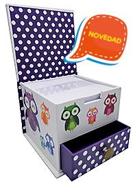 Owls. Caja con bloc de notas y cajón