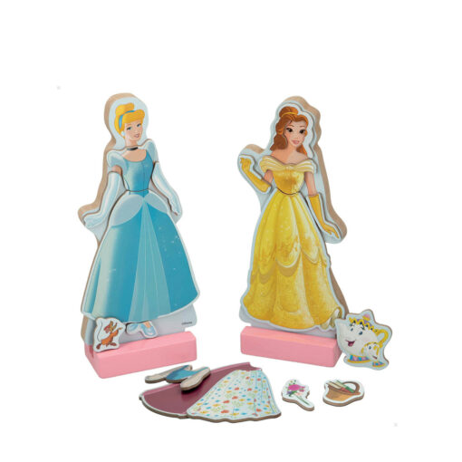 Juego vestidos madera magnetico Princesas JU48726-1